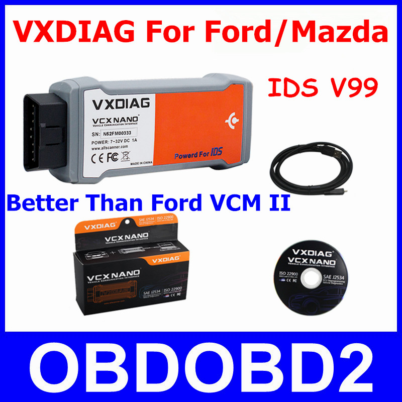 Newest VXDIAG VCX NANO For Ford Mazda 2 In 1 IDS V98 V99 Better Than For Ford VCM II Diagnostic Tool Scanner Multi Languages<br><br>Aliexpress