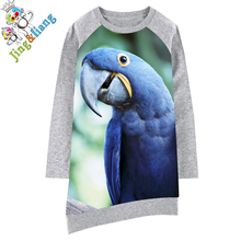 Childre dress Long sleeve Girl clothing The parrot Fashion Kids Baby Dresses bibs Print Children Dress Designer Kids Clothes