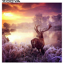 ZOOYA 5D Sale Diamond Embroidery DIY Diamond Painting By Numbers Wall Sticker Rhinestone Painting Sunset Animals Elk Gifts RF900(China)
