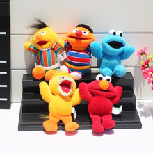5Pcs/Set Sesame Street Plush Elmo Cookie Big Bird Ernie Bert Plush Toys Pendants Stuffed Soft Dolls 13cm Approx