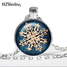 1 pc SNOWFLAKE Necklace Deep Blue Aqua Snow Jewelry Winter Pendant Necklace Christmas gift necklace(China)