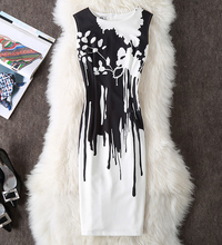 ANGVILME New 2017 Women summer sexy dress black white classic bodycon Dress slim young printing vestido party design sexy dress