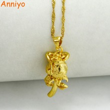 Anniyo Flower Necklaces for Women/Girls,Gold Color & Copper,Rose Pendant Chain Jewelry Romantic Gifts #005307(China)
