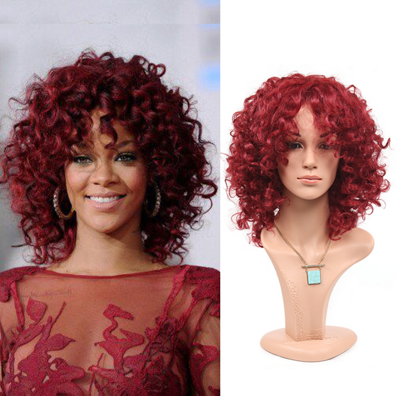 Rihannas Classic Fashion Womens Ladys Cheap Wig Short Curly Hair Wigs Full Wigs Heat Resistant Synthetic Hair wigs<br><br>Aliexpress