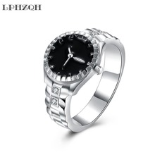 LPHZQH fashion Silver Color Cubic Zirconia Wedding Bands Watch Ring engagement Jewellery charm personality finger accessory