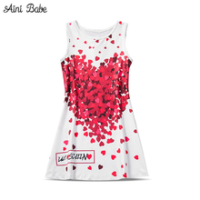 Fashion Baby Girl Frocks Casual School Wear Red Sweet Heart Pattern Dress Children Clothes Kids Party Dresses For Girls Costumes
