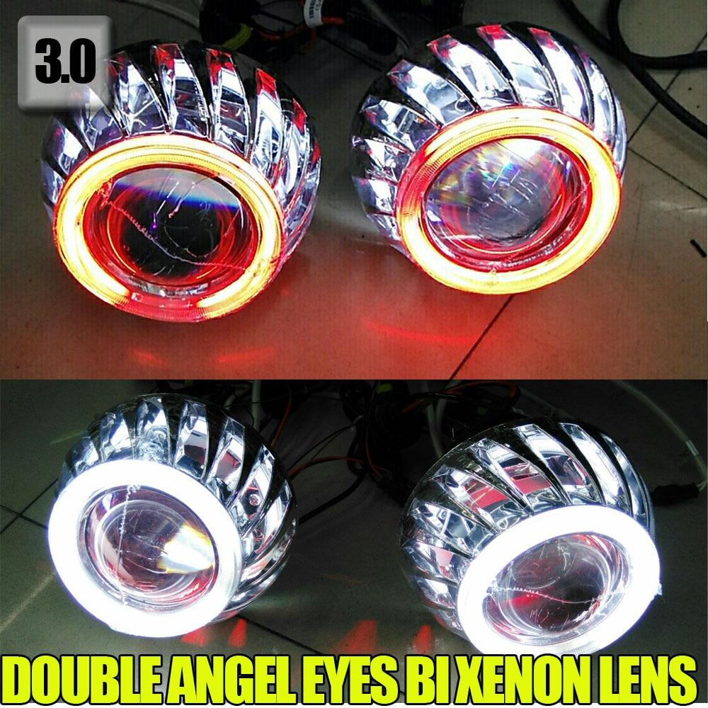 3.0 inch 12V 35W BiXenon HID Projector Lens Double angel eyes car/motor headlight Yellow Blue Red White Green CCFL Angel eye<br><br>Aliexpress