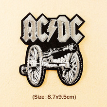 AC DC BAND Size:8.7x9.5cm Hippie Badges Iron On Embroidered Patch For Cloth Cartoon Badge Patches Garment Appliques Accessory