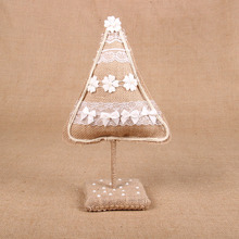 Christmas Tree Ornament Rustic Christmas Decor Fabric Ornaments Burlap Lace Tree Party Favors
