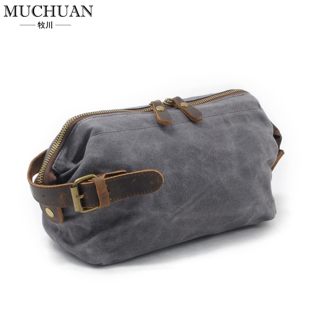 New men hand caught oil wax canvas toiletry bags leather hand restoring ancient ways in baotou layer leather wrist package 9138<br>