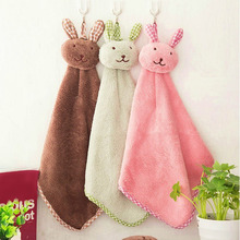 Cute Bunny Coral Fleece Hand Towel Kitchen Hanger Washcloth Fashion Lovely  Hogard