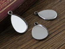 ( No Fade ) 20pcs 13x18mm Inner Size Stainless Steel Material Drop Style Cabochon Base Cameo Setting Pendant Tray (D2-69)(China)