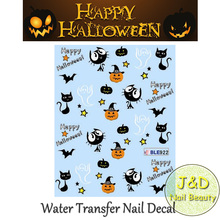Free Shipping 12pcs Halloween Water Transfer Nail Art Sticker Pumpkin Decal Skull Decoration Witch Bat Doll Cat French Manicure(China)