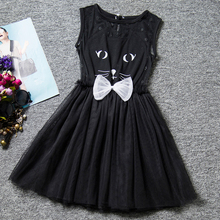 Princess Children  Baby Toddler Girls One Piece Dress Cat Tops Tulle Kids Party Wear Tutu Dress For Girls Cute Kitty Clothing