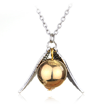 High Quality Statement Necklace Vintage Tone Necklace Quidditch Golden Snitch Fly Ball Wings Pendant Necklace(China)