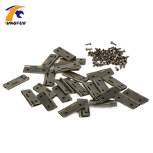 12pcs Furniture Hinge Kitchen Bedroom Living Room Cupboard Closet Wardrobe Hinge for Jewelry Boxes Metal Bronze Hinges 18x16mm(China)