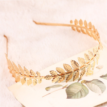 LNRRABC Fashion Women Elegant Baroque Style Metal Leaves Headband Bridal Charm Hair accessories Hairband(China)