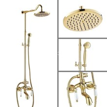 "Gold Brass Ceramics Levers 8"" Large Round Shower Head Wall Mount Bathroom Rainfall Shower Faucet Set Bathtub Mixer Tap agf684(China)"
