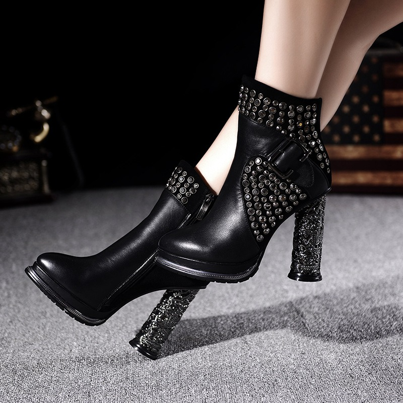Heavy-bottomed Thick High Heels Martin Boots With Rivets 2016 Winter Newest Fashion Elegant Booties Shoes Black Cowhide Footwear<br><br>Aliexpress