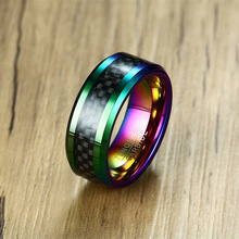 8MM Men's Anodized Rainbow Tungsten Carbide Ring with Black Carbon Fiber Inlay Wedding Bands Beveled Edges for Male Jewelry(China)