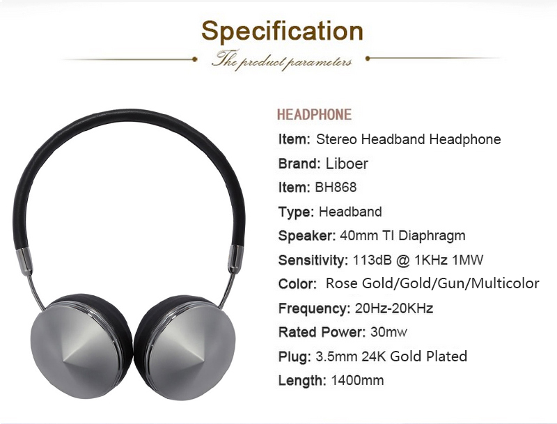 10 Liboer Headphones Rose Gold Headband Headphones High Quality Sound for Music 3.5mm Wired Dynamic Headset for Mobile Phone