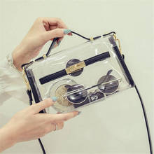 2017 New Design Transparent Bag Transverse Clear Platinum Package Summer Beach Bag Small Tote Shoulder Bag Women Crossbody Bags(China)