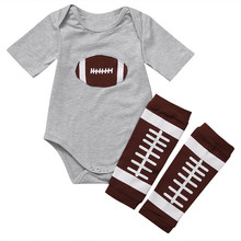 2pcs Newborn Infant Baby Boy Summer Clothes Set Football Pattern Bodysuit Jumpsuit Tops+Leg Warmer Outfits Clothing