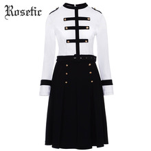 Rosetic Gothic Vintage Dress Women Autumn White Patchwork A-Line Fashion Belts Slim Dress Preppy Casual Military Goth Dress(China)
