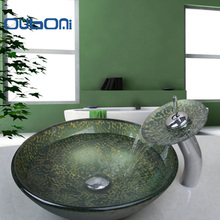 OUBONI New Bathroom Waterfall Tempered Glass Sinks Hand Painting Victory & Match Brass Faucet Bathroom Sinks Set Mixer 4162-1