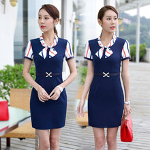 Fashion Patchwork Slim Fit Summer Short Sleeve Dress Formal OL Styles Tops Vestidos Beauty Salon Dress Clothes Elegant Blue