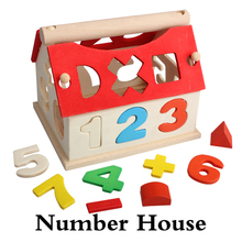 Creative Wooden Toy House Kid Building Puzzle Numbers Multi Color 3D House Model Building Puzzle Toy