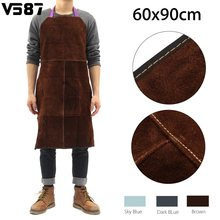 Welding Apron Work Protective Clothing Dustproof Uniform Apron Safety Fire-Retardant Insulation Split Cow Leather(China)