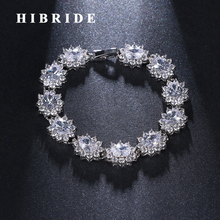 HIBRIDE Vintage Flower Clear Cubic Zircon Women Wedding Bracelets Fashion Jewelry Female Gifts B-99