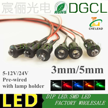 50pcs 12V/24V Pre wired 3mm 5mm LEDs Bulb with Plastic Shell holder Warm white/Red/Green/Blue/Yellow/White 20cm Prewired LED