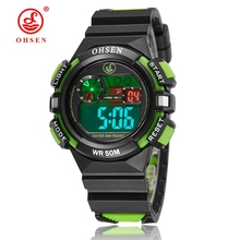 2016 OHSEN Brand Digital LCD Kids Boys Fashion Wristwatch Green Rubber Strap 50M Waterproof Child Girl Watches Alarm Clocks Gift(China)