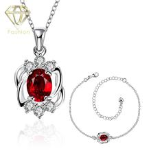 Imitation Jewellery Online Shopping Classic Silver Plated Geometric Shaped Inlaid White/Red Crystal Pendant Necklace&Anklet Sets
