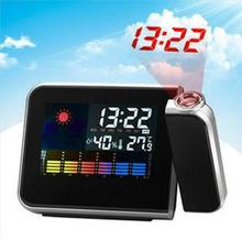 Hot Digital LCD Screen LED Projector Alarm Clock Mini Desktop Multi-function Weather Station Free Shipping(China)
