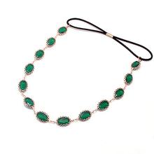 new arrival fashion popular faux green stone  elastic head bands hair accessories jewelry for women bijoux dropship