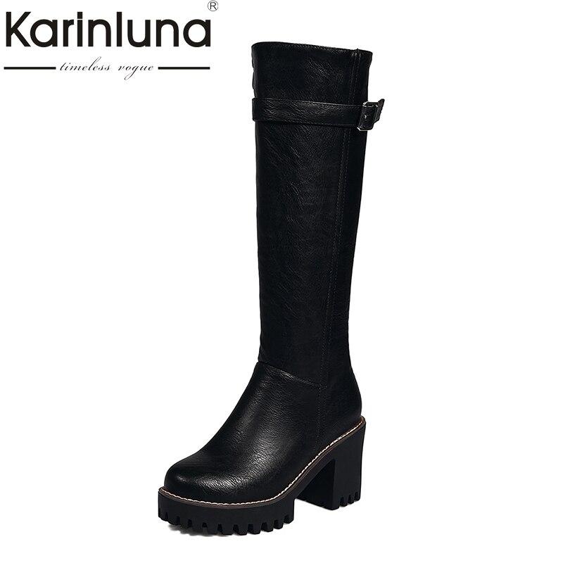 KARINLUNA 2017 large sizes 33-43 platform knee high boots fashion square high heels black women shoes woman<br>