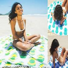 Summer 148cm Beach Cover Up Bikini Cover-up Fringes Round Sea Towel Pineapple Mandala Print Sexy Beach Swimming Mat Blanket