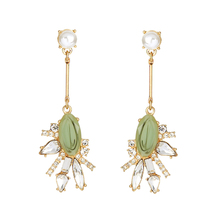 Crystal Patterned Resin Gem Green Drop Earrings Perfume Women Party Dress Match Brand Jewelry Earrings(China)