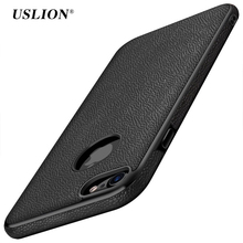 USLION Luxury Litchi Pattern PU Leather Phone Case For iPhone 7 6 6s Plus Cases Soft TPU Back Cover Capa Coque For iPhone7 Plus