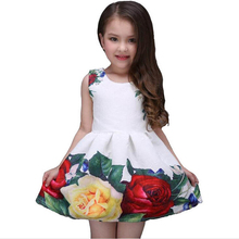 2017 new summer girls dress white designer brand new children clothing rose flower princess wedding party Lace girl clothes(China)