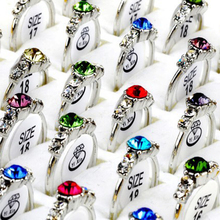 Wholesale 20Pcs lot Mixed CZ Crystal women Rings Elegant Party Jewellery Bulks(China)