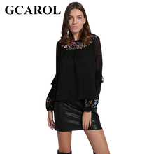 Buy GCAROL Euro Style Embroidered Floral Women Blouse O Neck Lantern Sleeve Rayon Female Tops New Basic Shirt Pleated Smock for $14.98 in AliExpress store