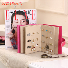 Fashion Women Stud Earrings Collection Book PU Leather Earring Storage Box Creative Jewelry Display Holder Jewellery Container(China)