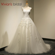 Vivian's Bridal Real Photo A-Line Scoop Neck Lace Up Sweep Train Wedding Dress 2016 With Beaded mariage Wedding Gowns SA006(China)