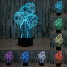 USB Led Night Lamp 7 color 3D LED Night light Balloons visual touch switch table lamp illusion Decoration children lamp IY803371(China)