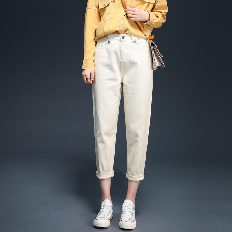White Women's Cotton Casual Harem Pants Spring Summer Loose Long Trousers Female Classic Vintage High Waist Office Lady Pants
