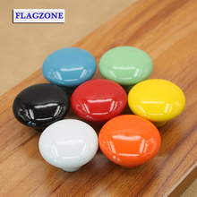 The children's room drawer pulls hands Modern style round shape color cabinet handles Ceramic material lovely furniture fittings(China)